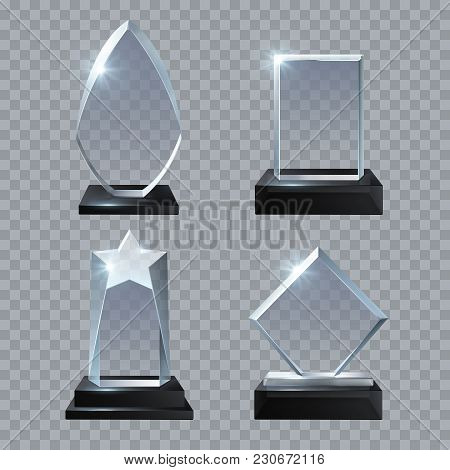 Crystal Glass Blank Trophy Awards Isolated Vector Templates Collection. Trophy Glass Prize, Base Pan