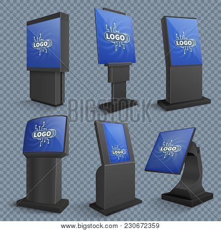 Touch Screen Computer Terminals, Lcd Standing Monitor Of Information Kiosks Vector Set. Touch Displa