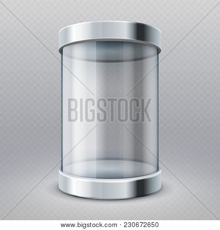 Empty Transparent Glass Cylinder 3d Showcase Isolated Vector Illustration. Museum And Market Gallery