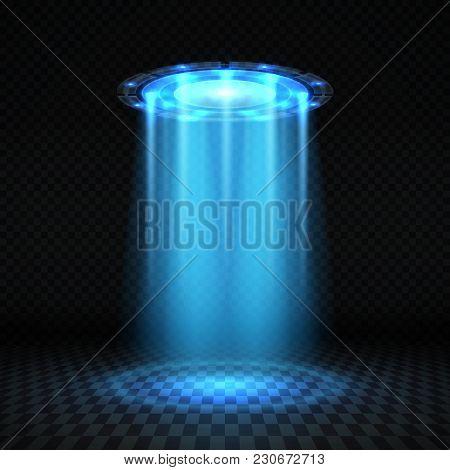 Ufo Blue Light Beam, Futuristic Alien Spaceship Isolated Vector Illustration. Ufo Futuristic, Spaces