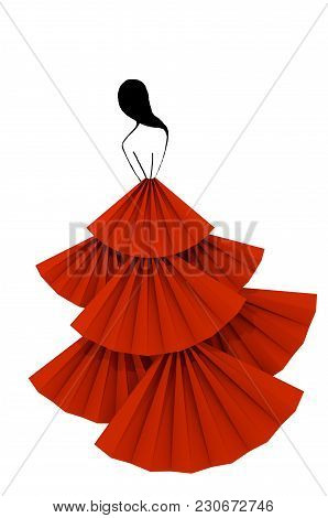 Red Fluffy Dress Woman Silhouette Isolated On White Background 3d Illustration. Concept Of Modeling