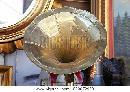 Antique Brass Horn Speaker  At Flea Market