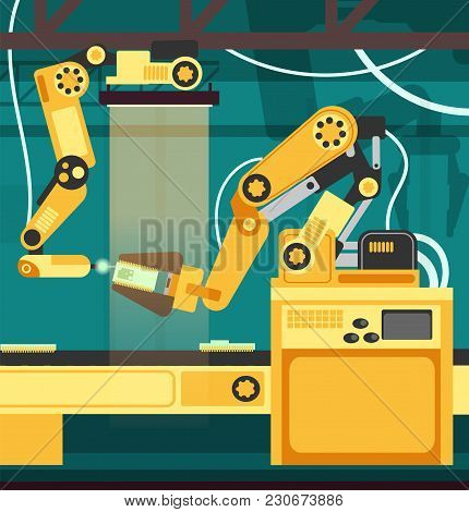 Manufacturing Auto Assembly Line With Robotic Arms. Technology And Engineering Vector Concept. Vecto