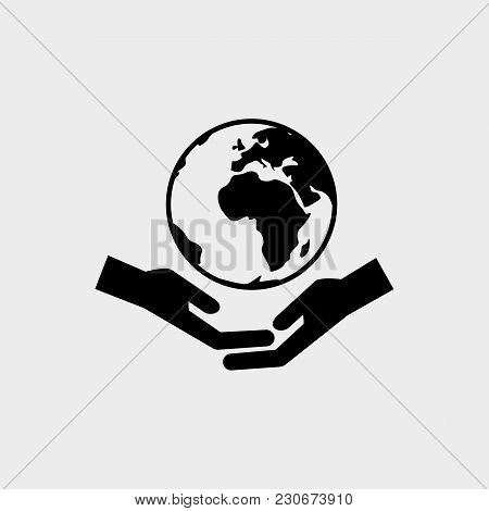Hands With Earth Black Icon. Happy Day Of The Earth. Vector Illustration Of An Isolated On White Bac