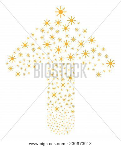 Sun Illustration Designed In The Figure Of Up Cursor Arrow. Ahead Oriented Arrow Shape Combined From