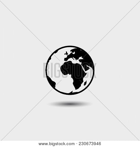 Earth Icon In Fashionable Flat Style, Isolated On White Background. Symbol Of The World Globe For Yo