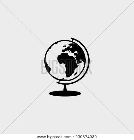 Globe Black Icon For Website, Isolated On White Background, Vector Illustration