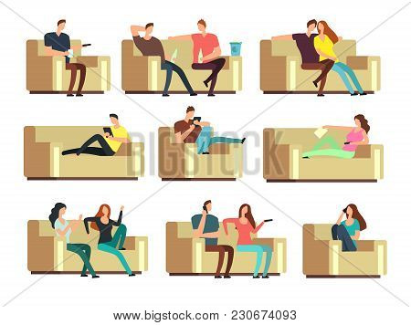 People Watching Tv, Resting With Phone, Snacking On Couch. Characters On Holiday Vector Set. Couple