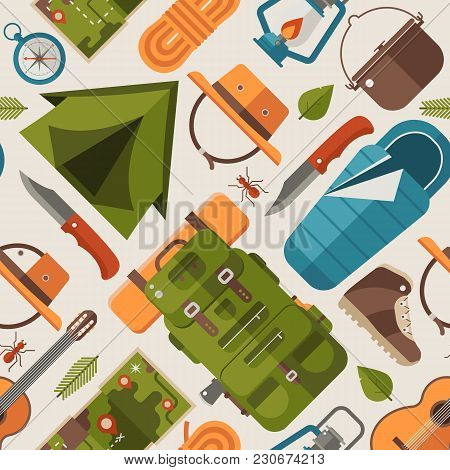 Summer Camping Pattern With Forest Adventure Elements And Icons. Trekking And Hiking Seamless Backgr