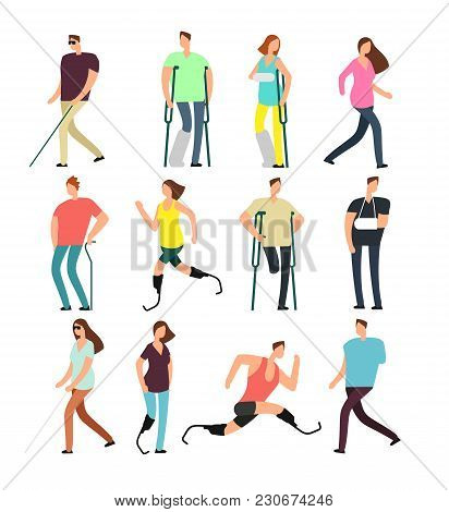 Disabled Persons Vector Cartoon Characters Set. Handicapped People Isolated On White Background. Dis