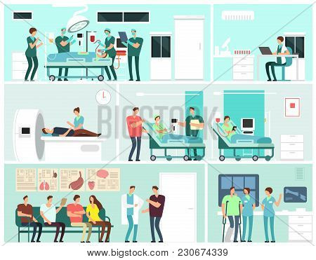 Hospital Interiors With Patients, Doctors, Nurse And Medical Equipment. Medicine Service Vector Conc