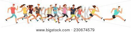 Jogging People. Runners Group In Motion. Running Men And Women Sports Background. People Runner Race