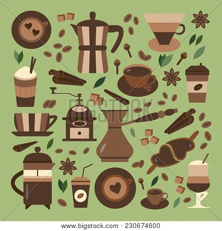 Coffee Making Icons. Hot Chocolate, Tea And Spices Organic Menu Elements. Coffee Machines, Drinks To