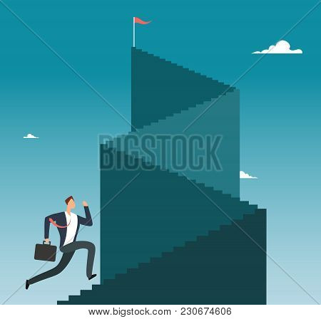 Professional Man Running Up Stairway To Mountain Peak. Business Sucess Vector Concept. Businessman R