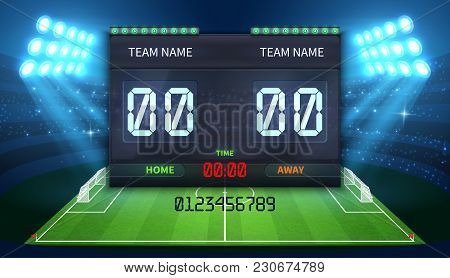 Stadium Electronic Sports Scoreboard With Soccer Time And Football Match Result Display Vector Illus