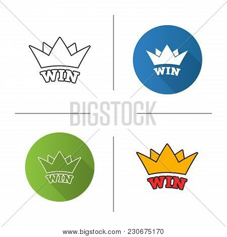 Win Icon. Flat Design, Linear And Color Styles. Crown. Jackpot. Isolated Vector Illustrations