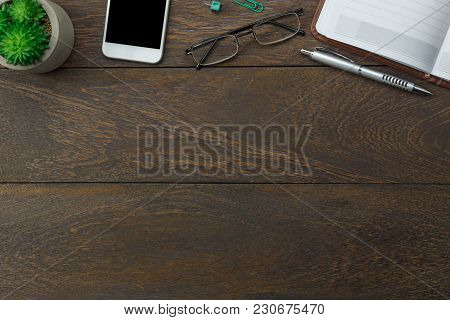 Table Top View Aerial Image Stationary On Office Desk Background Concept.flat Lay Objects The Mobile