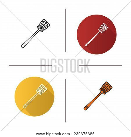 Fly-swatter Icon. Flat Design, Linear And Color Styles. Houseflies, Wasps, Moths, Gnats Killing Devi
