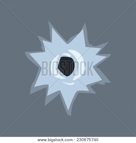 Bullet Hole In Glass Vector Illustration On Transparent Gray Background.