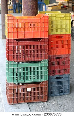 Stackable Plastic Crates For Produce At Farmers Market