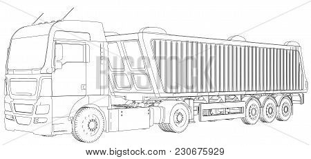 Top View. Tipper Lorry On Transparent Background, Logistics Transportation And Cargo Freight Transpo