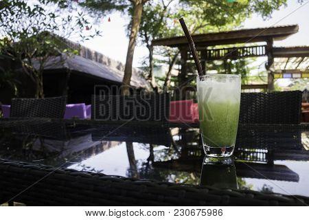 Matcha Green Tea Iced Glass, Stock Photo
