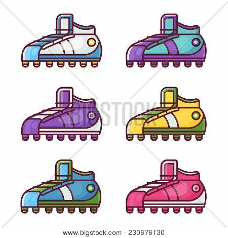 Different Sneakers And Football Boots Icons In Flat Design. Colorful Sport Shoes Set.