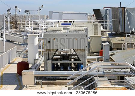 Ventilation Heating And Air Conditioning At Building Rooftop