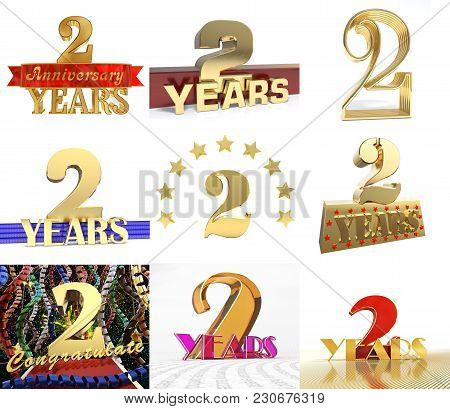 Set Of Number Two Years 2 Years Celebration Design. Anniversary Golden Number Template Elements For
