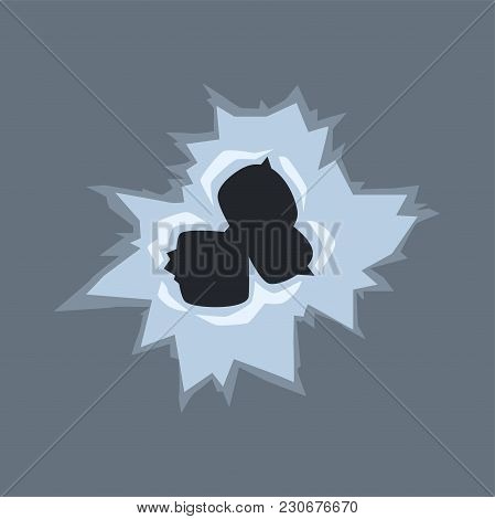 Bullet Holes On Glass Vector Illustration On Transparent Gray Background.