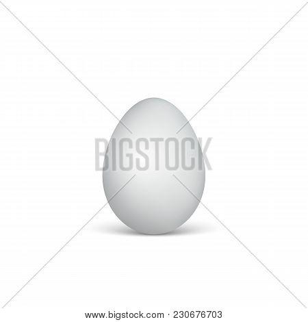 White Egg On A White Background. Healthy Food. Easter Symbol. Vector Illustration