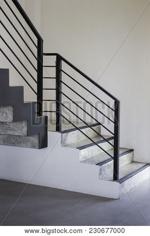 Black Steel Staircase Of New Apartment, Stock Photo