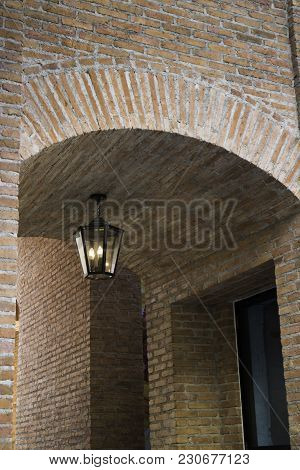Vintage Window Of Tunnel Made By Brick With Lighting, Stock Photo