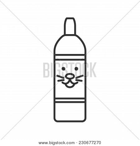 Pet Shampoo Linear Icon. Thin Line Illustration. Soap Bottle With Animal Face. Pets Hygienic Product