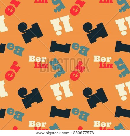 Berlin Seamless Pattern. Autentic Artistic Design For Background.