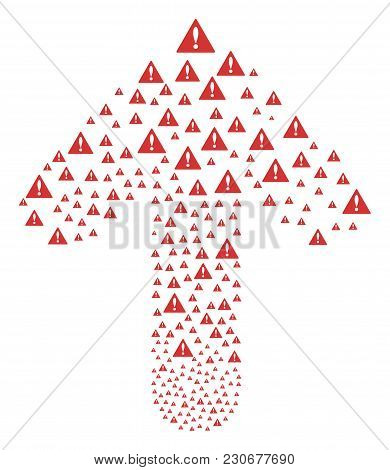 Warning Illustration Constructed In The Shape Of Upwards Path Arrow. Ahead Motion Arrow Shape Create
