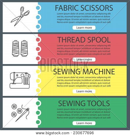 Tailoring Web Banner Templates Set. Fabric Scissors, Thread Spool, Sewing Machine, Needle And Button