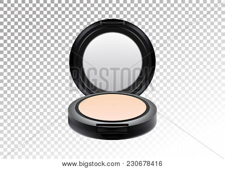 Cosmetic Realistic Plastic Black Compact Mineral Powder. Cosmetic Beauty Make Up Product Package, Ve