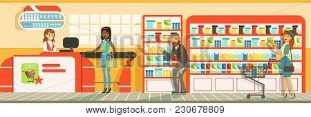 Customers People Queue At Cash Desk With Cashier In Supermarket, Store Interior Design Horizontal Ve