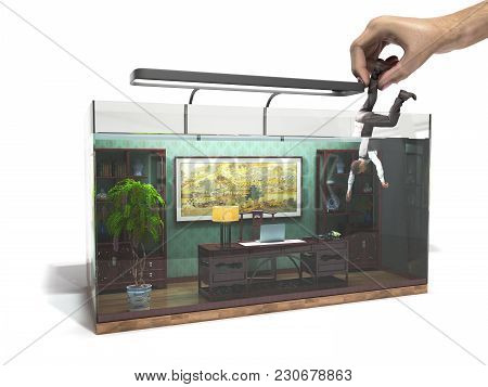 Modern Cconcept Of Labor Slavery, Social Exclusion, Working Office In The Aquarium With Hand Holding