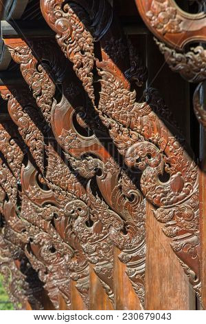 Architecture detail of Baan Dam or Black House, Museum of Art in Chiang Rai, Thailand