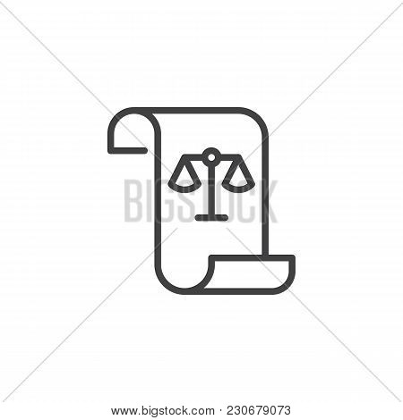 Paper Scroll With Law Balance Outline Icon. Verdict Linear Style Sign For Mobile Concept And Web Des