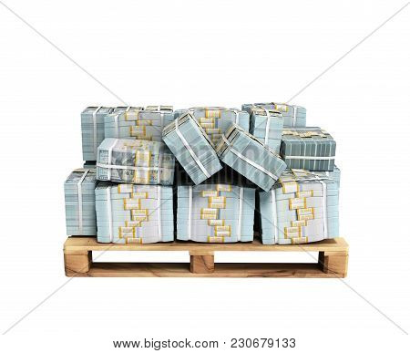 Stack Of Dollar Money Bills On Wooden Pallet 3d Render On White Background No Shadow