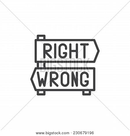 Right And Wrong Decision Arrows Signs Outline Icon. Linear Style Sign For Mobile Concept And Web Des