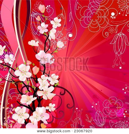 Floral greeting card with blossoming tree. Raster version. Vector version is in my gallery.