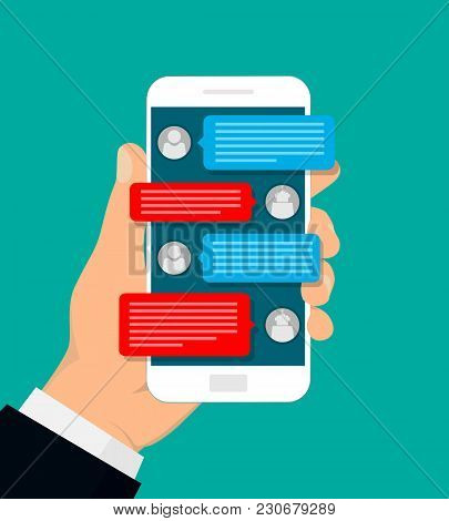 Hand Holding Smartphone. Man Chatting With Chat Bot. Vector Illustration. Flat Design.