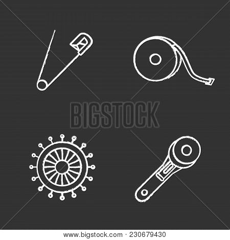 Tailoring Chalk Icons Set. Safety And Straight Pins, Measuring Tape, Rotary Cutter. Isolated Vector