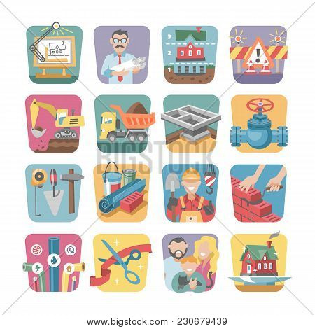 Construction Icons Vector Constructive Equipmentor Tools Of Builder Or Constructor To Build New Hous