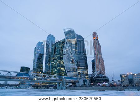 Moscow-city, Russia. Moscow International Business Center At Dusk