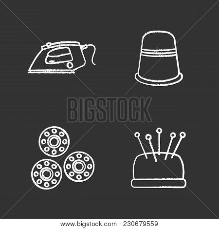 Tailoring Chalk Icons Set. Thimble, Steam Iron, Pincushion With Pins, Bobbins. Isolated Vector Chalk